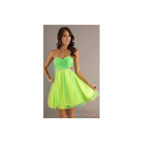 Short Neon Dresses Prom Dresses 2016 ❤ liked on Polyvore featuring dresses, short prom dresses, prom dresses, neon dress, neon short dresses and neon green dress