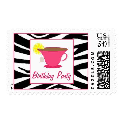 Hot Pink Teacup / Zebra Birthday Party Postage