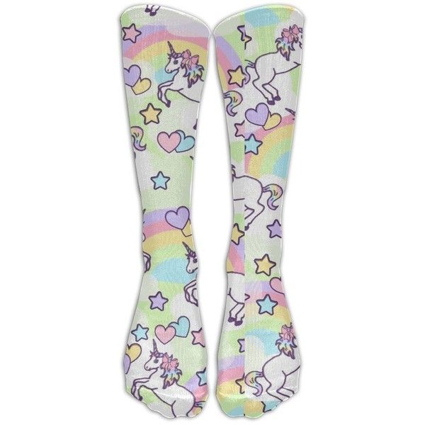 Amazon.com : Unicorn Rainbow Emoji Kawaii Sports Long Dress Socks High... ❤ liked on Polyvore featuring intimates, hosiery, socks, rainbow socks, unicorn socks, sport socks and sports socks