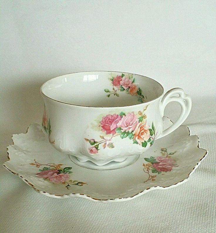 Antique Tea cup and Saucer Moritz Zdekauer MZ 1850-1899 #MoritzZdekauer