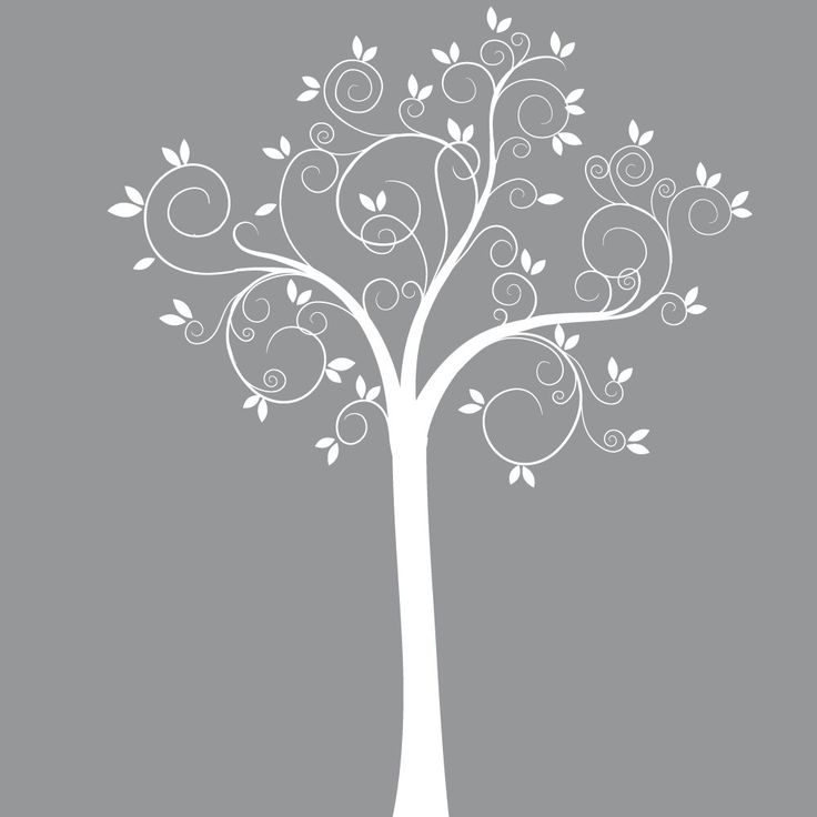 Custom Listing White Swirl Tree with Pink Flowers by wallartdesign, $75.00