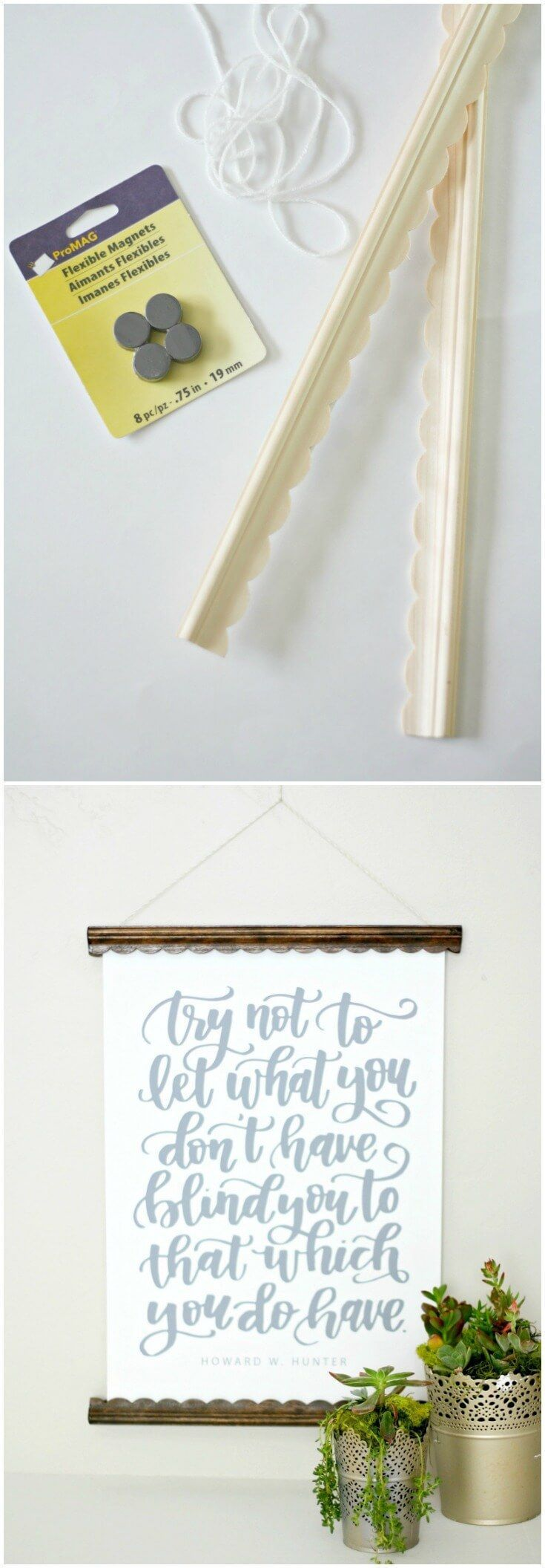 Use scalloped wood trim and magnets to make the most budget friendly poster hanger ever! Customize the trim and stain any way you like. via @diy_candy