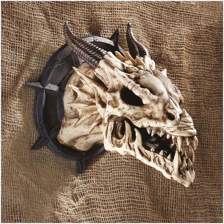 Medieval Gothic Dragon Skull Wall Sculpture Statue Décor ...