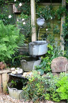 I love this rustic water feature!