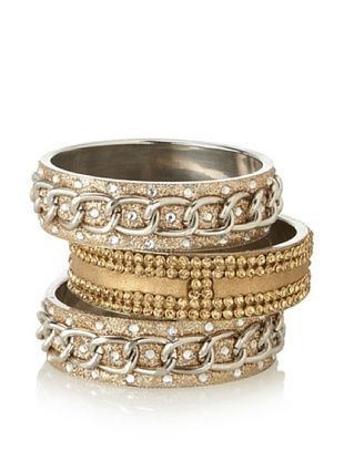 60% OFF Chamak by Priya Kakkar Set of 3 Large Gold- & Silver-Tone Bangles