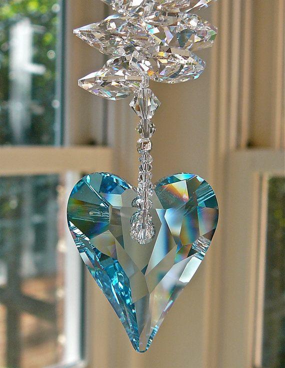 "Swarovski Crystal Heart Suncatcher, Window Decor, 37mm Aquamarine Heart Prism Topped with Swarovski Crystal Octagons, ""THERESA BLUE"""
