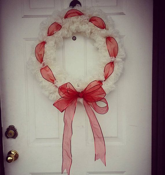 Ivory Lace Christmas Wreath  Sheer Red by AlannasNewStalgia