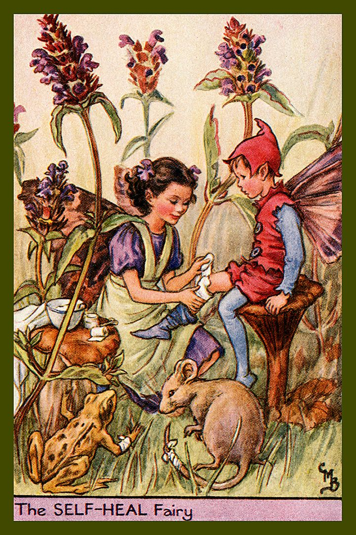 The Self Help Fairy by Cicely Mary Barker from the 1920s. Quilt Block of vintage fairy image printed on cotton. Ready to sew.  Single 4x6 block $4.95. Set of 4 blocks with pattern $17.95.