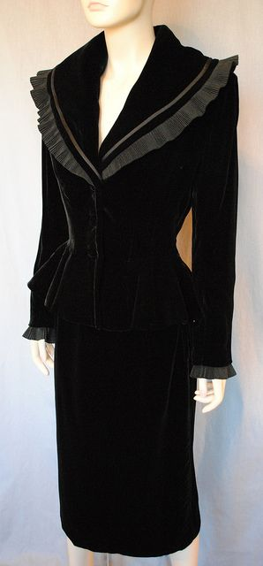 1940 | Black Velvet Suit with Crepe Ruffle Detailing at Collar and Cuffs by Lilli Ann