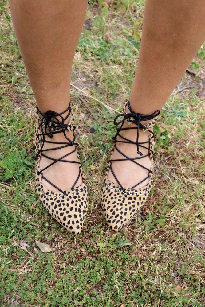 Image of Elle Laceup Flat - Leopard, Black Suede or Gunmetal Sparkle