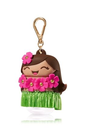 Hula Girl - PocketBac Holder - Bath & Body Works - Complete with adorable grass skirt! This hula girl adds vacation-ready vibes to your favorite PocketBac! The convenient clip attaches to your backpack, purse and more so you can always keep your sanitizer handy.
