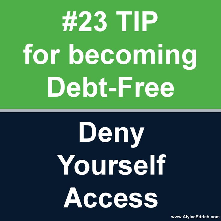"Alyice Edrich - Debt Free Tips - Deny yourself access to your savings accounts. It was hard for us to save money until we denied ourselves access. Now, none of our savings accounts can be accessed via ATM. We even keep our ""dire emergency fund"" in a separate bank account so we can't easily transfer money when we're short funds. This method of saving, combined with automatic transfers, has saved us many times… unexpected root canals, $1400 van repairs, job losses, and so forth. #DebtFree"