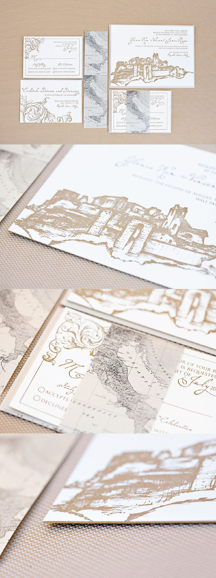 Italy wedding invitations with a sketch of the castle in Roccella Ionica, Italy. The invitations were printed with gold letterpress and edged in gold.  A vintage map of Italy was designed to wrap around the invitation suite.  Click to see more of this invitation or pin for later!