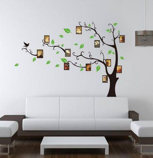 adesivo de parede criativo para decorar o ambiente!!! Muito lindo e você poderá estar escolhendo as fotos da sua preferência para estar decorando os porta-retratos da árvore!, sem contar que poderá estar trocando as fotos, sempre mantendo um ambiente diferente! DEMAIS, né?