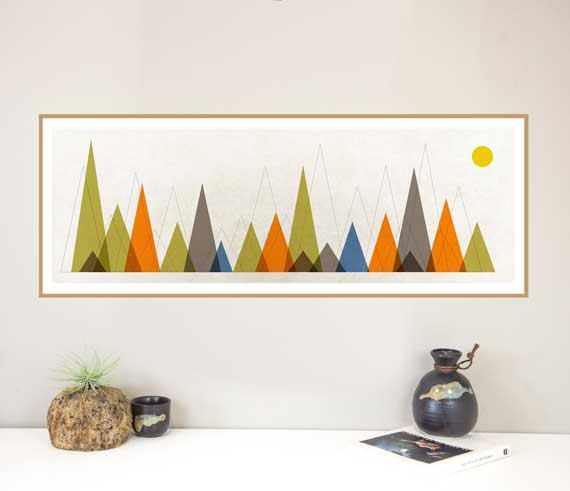 Panoramic print Nursery art Mountain poster geometric art midcentury wall  art travel art geometric mountain art mid century landscape art