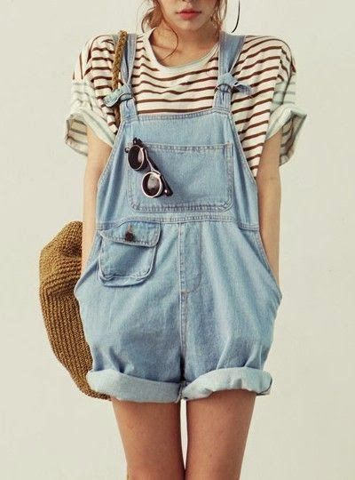 Stripes and overalls great combo- hard to find a body shape it looks good on