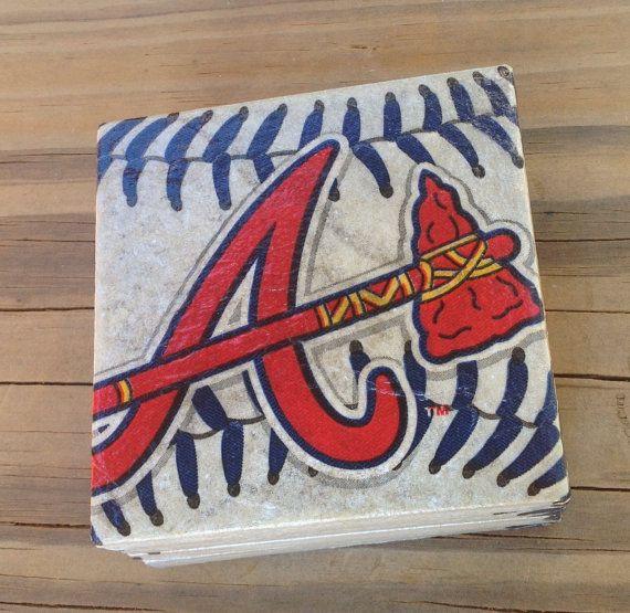 Atlanta Braves coasters, ceramic tile - 4 pack. Atlanta Braves game day. Beer coaster. Braves man cave.