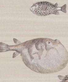 Acquario Fornasetti 2 Behang, een schitterend aquarium vol met diverse kogelvissen en andere bijzondere zeedieren. Combineert leuk met koraal en schelpen!