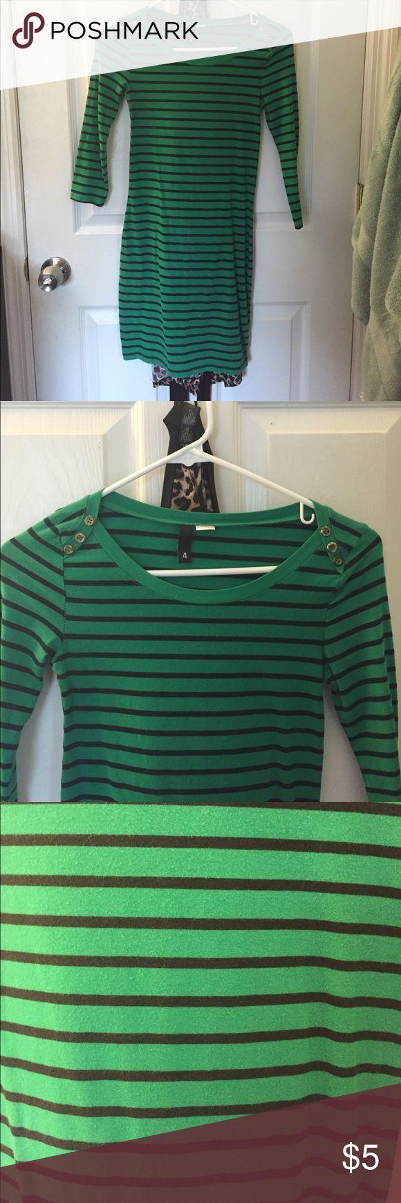 Black & green striped bodycon dress Three quarter sleeved. Pre loved. Dresses Long Sleeve