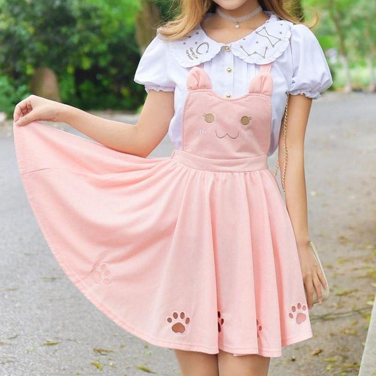Kitty Cat Paws Sweet Suspender Dress! Pastel pink fit for a princess. Neko lovers unite - this dress is a must!  So kawaii! 100% FREE Shipping Worldwide! Tons more Kawaii, Lolita, Harajuku, Fairy-Kei, Larme, Pastel-Goth, Cosplay, Magical Girl, and Harajuku Japan Fashion Goodies at www.KawaiiBabe.com