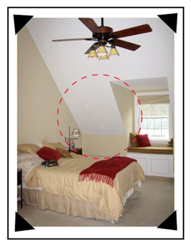 """Painting a sloped ceiling like you would a flat ceiling leaves the room with jagged edges. You can see in the example above, no matter how light the color is, the separation of """"SOFT"""" angles between """"sides"""" and """"top end"""" makes the room have weird proportions"""