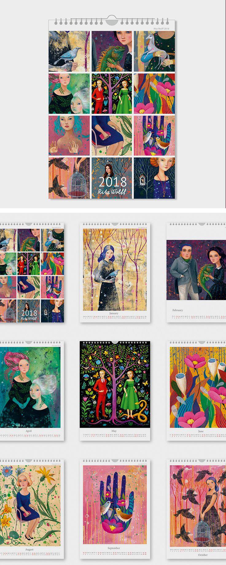 Handgemalter Wandkalender 2018 als Deko für den Flur / wall calendar 2018 for the hallway decoration made by Rita Wolff via DaWanda.com