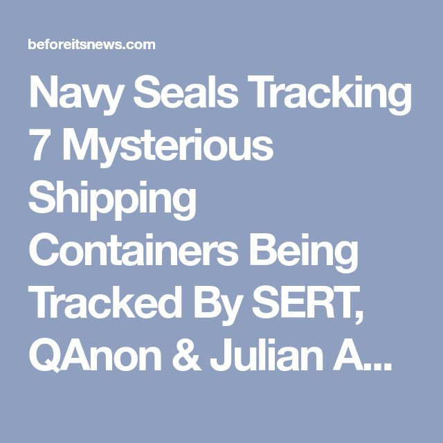 Navy Seals Tracking 7 Mysterious Shipping Containers Being Tracked By SERT, QAnon & Julian Assange (Video) | Prophecy