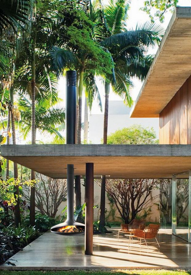 outdoor modern fireplace - patio - beach house - tropical - architecture - design - style