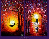 Set Of Two Paintings Original Abstract - DancersSunset Swing - Acrylic Contemporary Art Palette Knife - Yellow Orange Blue