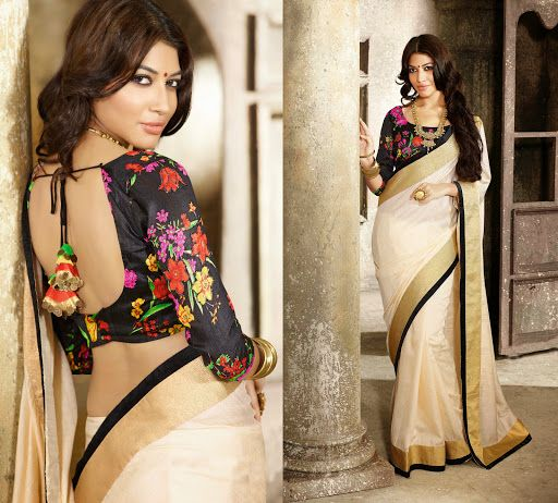 Cream #Saree With Black Floral #Blouse.