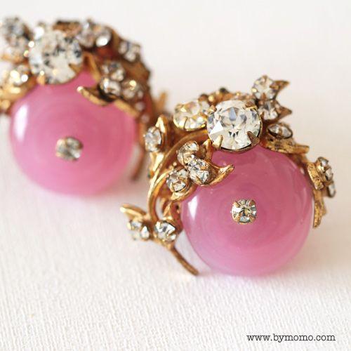 Pink earrings by Miriam Haskell