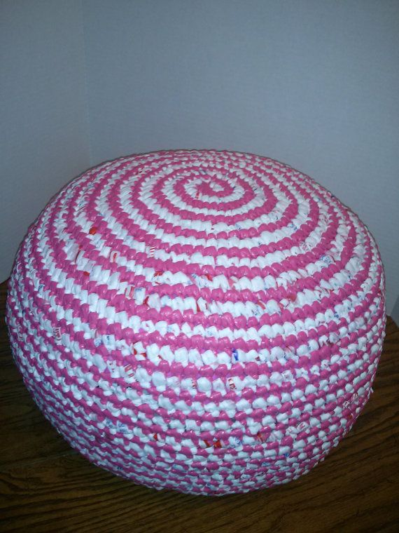 Recycle Upcycle Crochet Plastic Grocery Bag Plarn Pouf