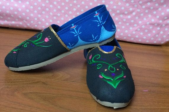 Frozen Anna Inspired Custom Painted Canvas Shoes. Perfect for the next disney trip.