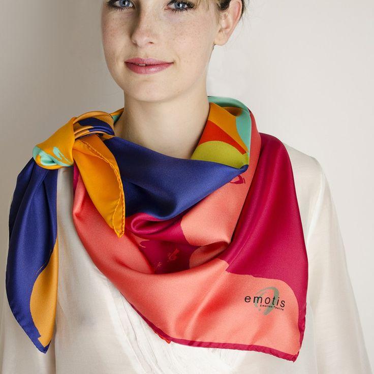 Carré Soie meiko#fashion#accessoire#femme#foulard#textile intelligent#fleurs de Bach#scarf#bach flowers#emotis