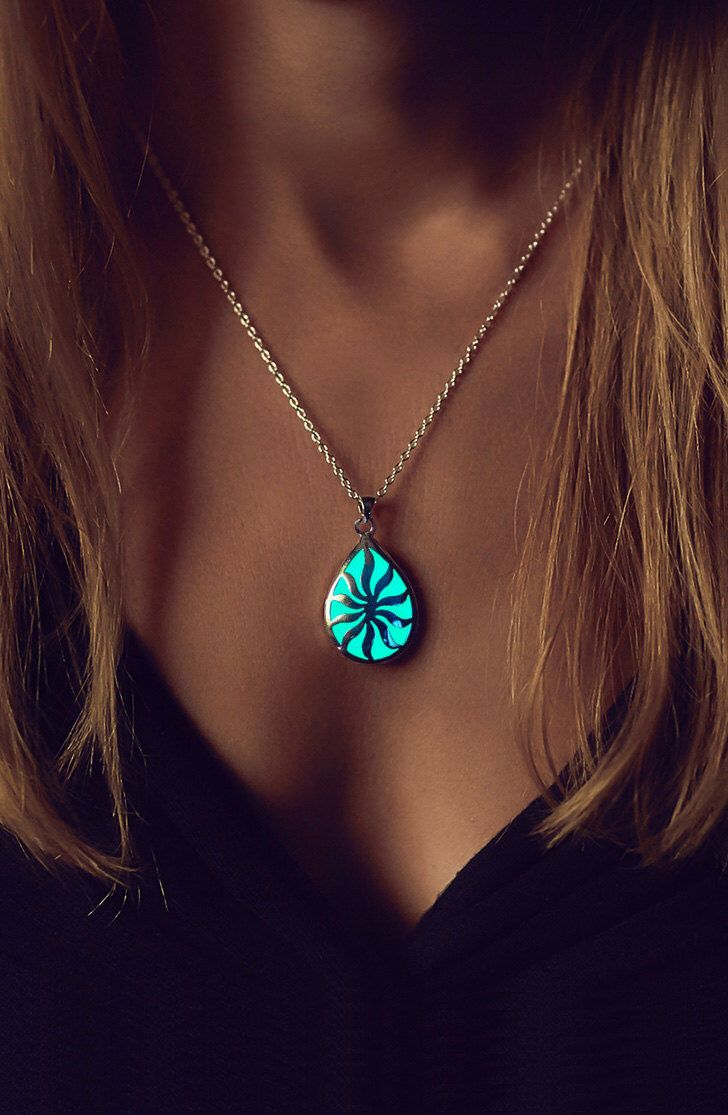 Glowing Necklace - Glow in the Dark Jewelry - Gifts for Her - Jewellery - Sun Necklace - Birthday Gift - Glow Necklace - Unique Gift - Charm by EpicGlows on Etsy https://www.etsy.com/listing/209755539/glowing-necklace-glow-in-the-dark