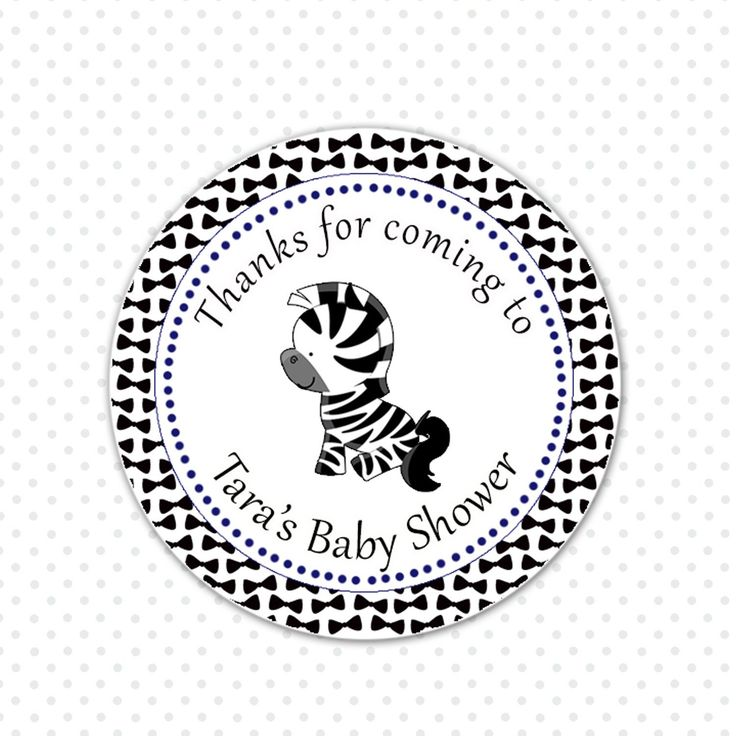 Bowtie Zebra Baby Shower Birthday Favor Label Tag Sticker – Pink The Cat