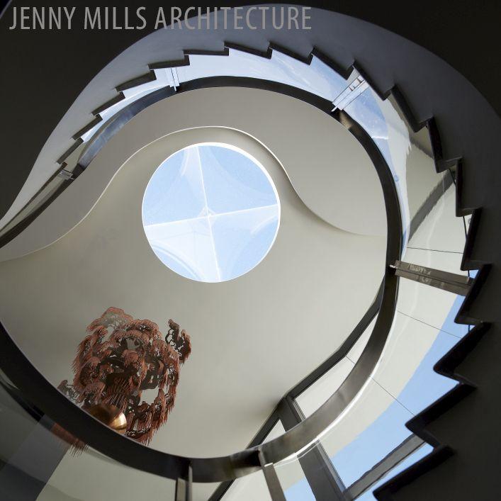 staircase, atrium, light fitting, skylight, natural light