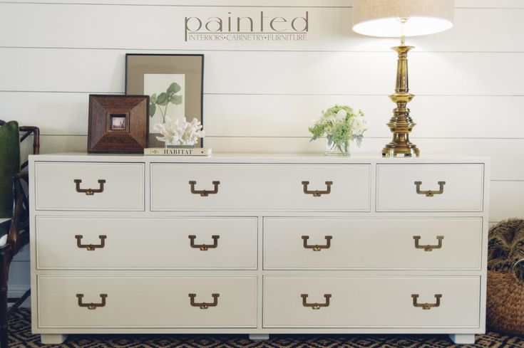 Vintage Henredon Artefacts Campaign Dresser With Brass Hardware Painted In High Gloss Fine