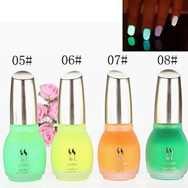 Tint 1PCS Laushine Luminous Noctilucent Fluorescent Nail Polish Glow in Dark Eco-Friendly(No.5-8,Assorted Colors) *** Check out this great product.