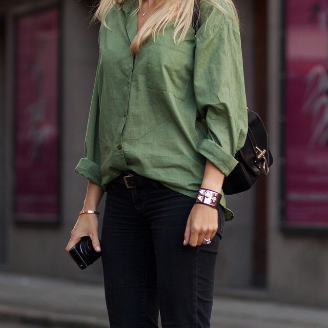 .Linens Blouses, Colors Combos, Army Green, Style, Men Shirts, Offices Outfit, Green Pants, Fashion Women, Black Pants
