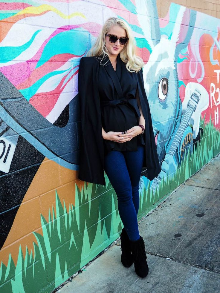 Maternity Style with Lyon and Post Black Cape Jeans and Fringe | Maternity Fashion Tips | Maternity Style Ideas | Winter Maternity Wear | Maternity Fashion in Winter | Cold Weather Maternity Style || Happily Hughes