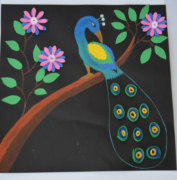 This picture made by Anusha few years back in her art class. It is made using craft papers and gems.