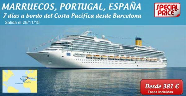 COSTA PACIFICA Fecha de salida: 29/11/2015  Puerto de salida: Barcelona PRECIO FINAL PARA 2 PERSONAS 762 Euros Tasas incluidas Barcelona-Navegacion-Malaga-Casablanca-Navegacion-Funchal-Santa Cruz de Tenerife  Llamanos y reserva ya ! 633 915 733 http://www.echeydetours.com/cruceros/