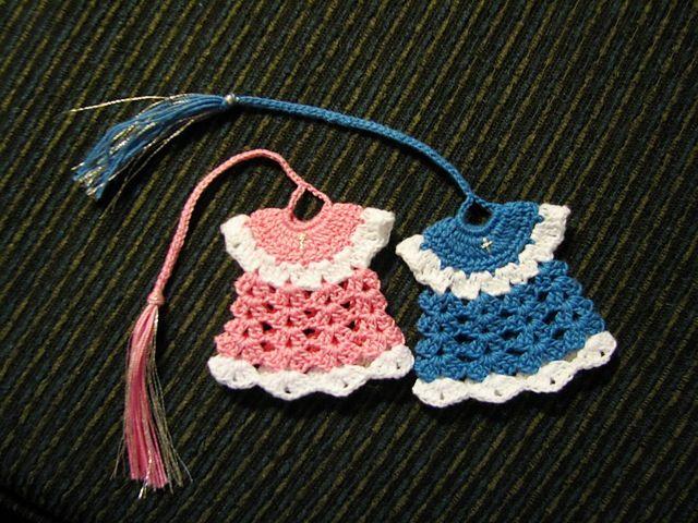 Free crochet dress bookmark pattern.