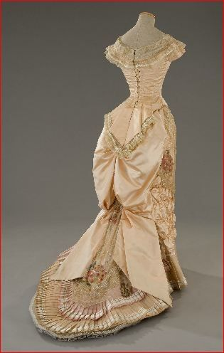 """Circa1880 ball gown"" The shape from behind is wonderful. Dated or mixed era worlds, gorgeous dress, but the shape is perfectly ideal. I'd better be up for the challenge of describing it!"