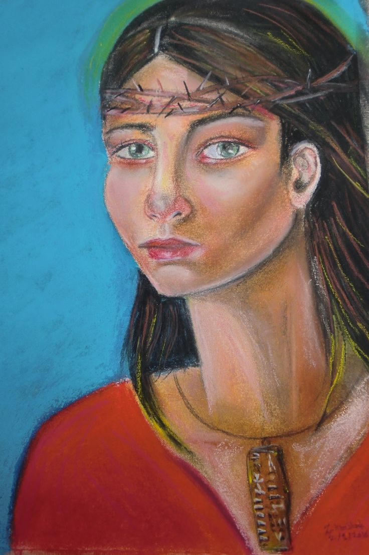 Chalk pastels and charcoal... The girl is wearing a small clay tablet with the Ugaritic Alphabet (Discovered in Ugarit, Syria) , a crown of thorns on head...her eyes are tired and sad...(Like the home of the first alphabet).