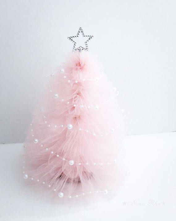 Tulle Christmas Tree, Pink Christmas Tree, Christmas Gifts, Holiday Tree, Silver Star, Shabby Decor, Holiday Decor, Home Decor One- Baby Pink Tulle Christmas Tree (MADE TO ORDER) Our Mini Trees are perfect decoration for Holiday. Tree comes with Silver star topper and Pearl Garland (Please #christmastreedecoration