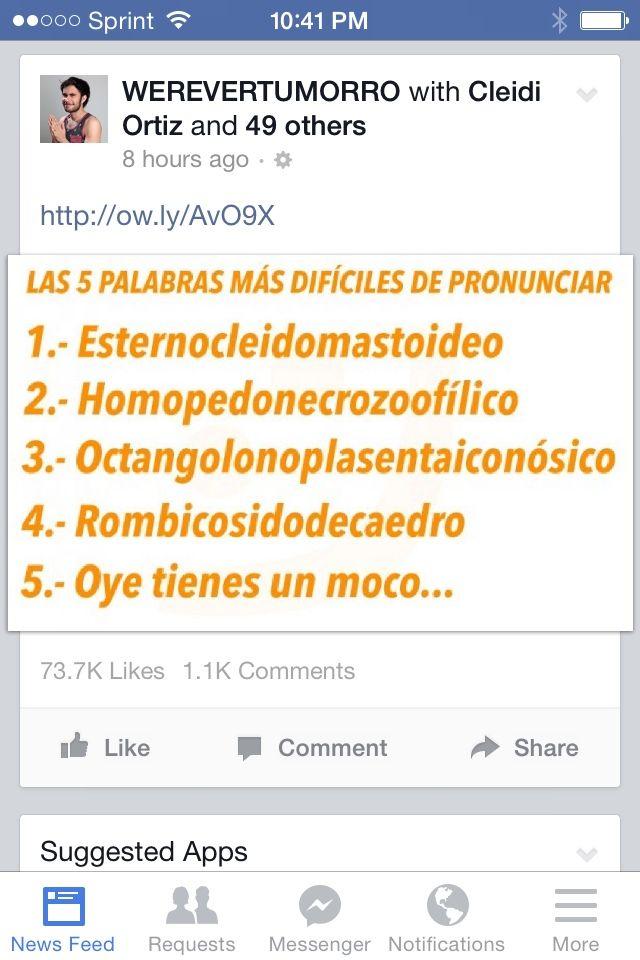 """¡Qué chistoso #5! 1. ¿Cuáles son otras """"palabras difíciles de pronunciar? 2. ¿Puedes pronunciar algunas de las primeras cuarto?"""