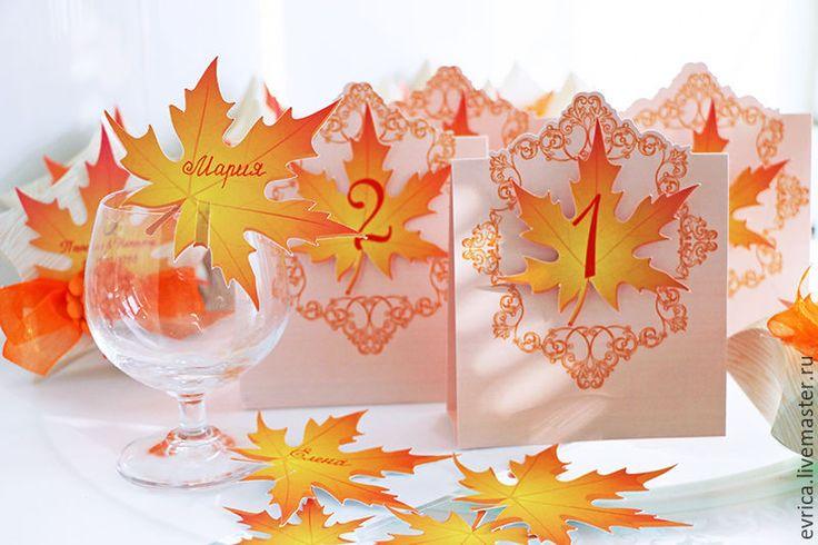 """Купить """"Золотая осень"""" номер на стол - рыжий, номер для стола, номерки на столы, свадьба"""