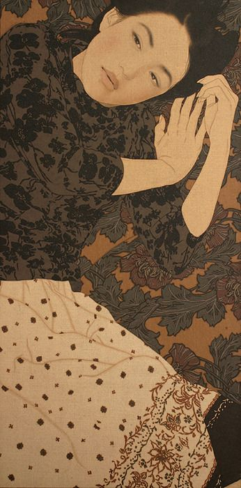 Ikenaga Yasunari. I love the patterns on the clothing. The hands are beautifully rendered in a way that reminds me of Mucha.